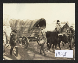 Cov. wag. dep., on to Ohio, oxen and wagon passing 610 Bay Road