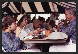 1987 celebration of the reenactment luncheon on Congregational Church lawn