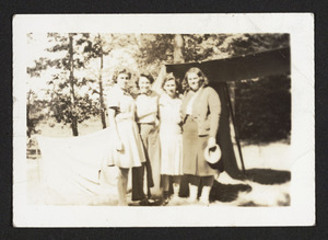 Leaders of Girl Scoup Troop 1, Hamilton camping at Camp Manzer, 1939