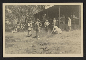 Hamilton Troop 1, girls cooking lunch at Camp Manzer, 1939