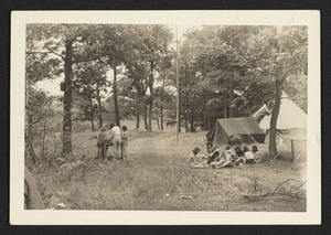 At Camp Manzer, 1939, eating and washing dishes, Hamilton Girl Scout Troop 1