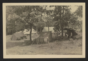 Tent camping at Camp Manzer on the Ipswich River, Hamilton Girl Scout Troop 1, 1939