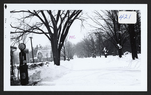 1932 snow storm, Bay Road, looking south, Helen W. Haraden's residence