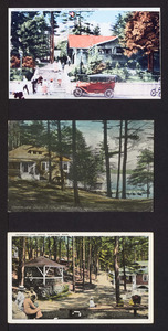 Dance hall, Pleasant Pond Park, Idlewood Lake, glimpse of cottage and lake from the grove, South Hamilton, Mass.