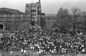 Anti-war demonstration at Commonwealth Armory, Commonwealth Avenue, Boston