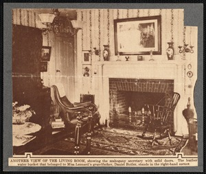 Parlor (living room) in the Leonard house, New Bedford, MA showing fireplace