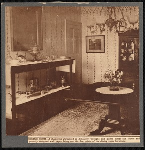 Dining room in the Leonard house, New Bedford, MA showing sideboard