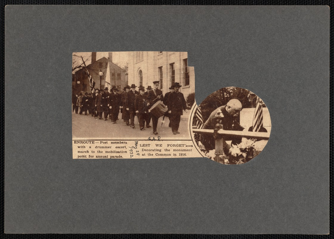 Two images: Memorial Day parade, Civil War veterans, New Bedford, MA