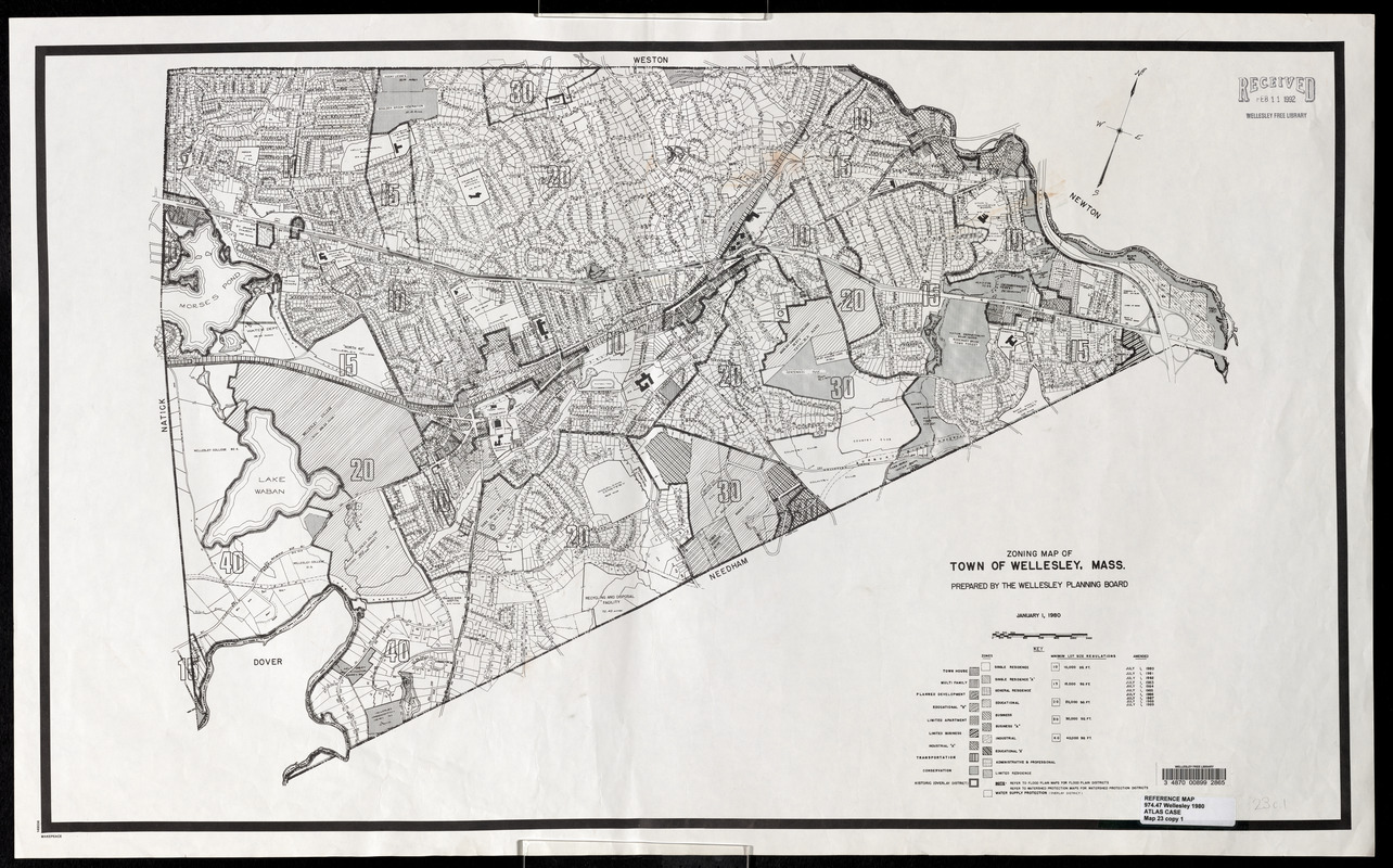 Zoning map of Town of Wellesley, Mass.