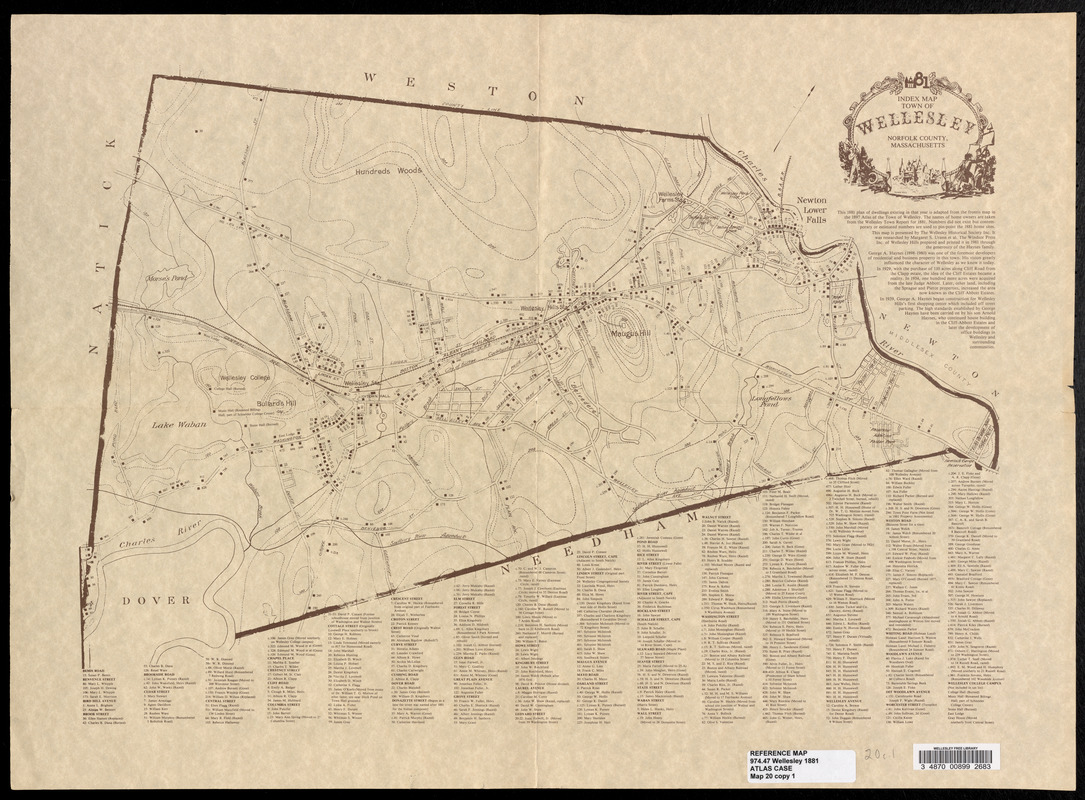 Index map, Town of Wellesley, Norfolk County, Massachusetts, 1881