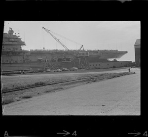 Aircraft carrier USS Wasp at South Boston Naval Annex before leaving for recovery station southeast of Bermuda to pick up Gemini 9 astronauts