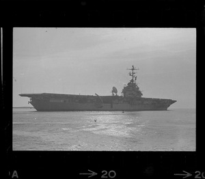 The aircraft carrier USS Wasp, prime recovery ship for astronauts Tom Stafford and Eugene Cernan, leaves Boston Harbor for recovery station southeast of Bermuda