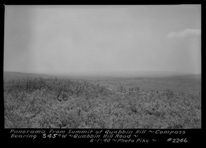 Panorama from summit of Quabbin Hill, compass bearing S45°W, Quabbin Hill Road, Quabbin Reservoir, Mass., June 1, 1940