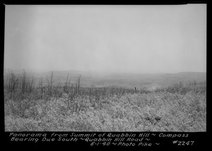 Panorama from summit of Quabbin Hill, compass bearing due south, Quabbin Hill Road, Quabbin Reservoir, Mass., June 1, 1940