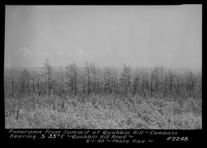 Panorama from summit of Quabbin Hill, compass bearing S35°E, Quabbin Hill Road, Quabbin Reservoir, Mass., June 1, 1940