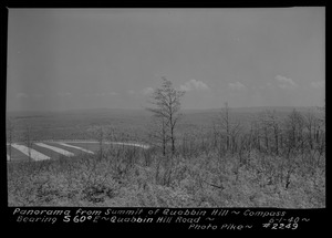Panorama from summit of Quabbin Hill, compass bearing S60°E, Quabbin Hill Road, Quabbin Reservoir, Mass., June 1, 1940