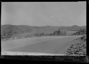 General view of Quabbin Reservoir from Quabbin Hill Road, looking northeasterly, water elevation 528.64, Quabbin Reservoir, Mass., June 10, 1946