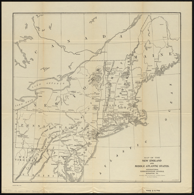 Map of the New England and Middle Atlantic States
