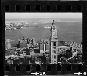 Aerial view of the Central Artery and the Custom House Tower, Boston