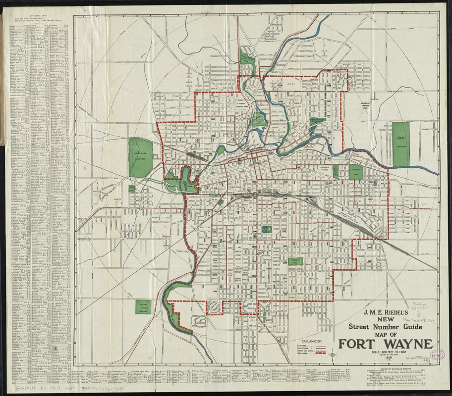 J M E Riedel S New Street Number Guide Map Of Fort Wayne Digital