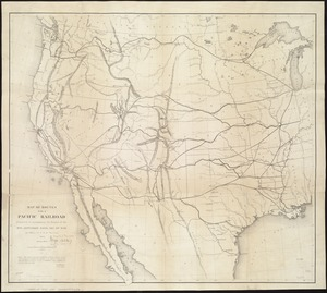 Map of routes for a Pacific railroad