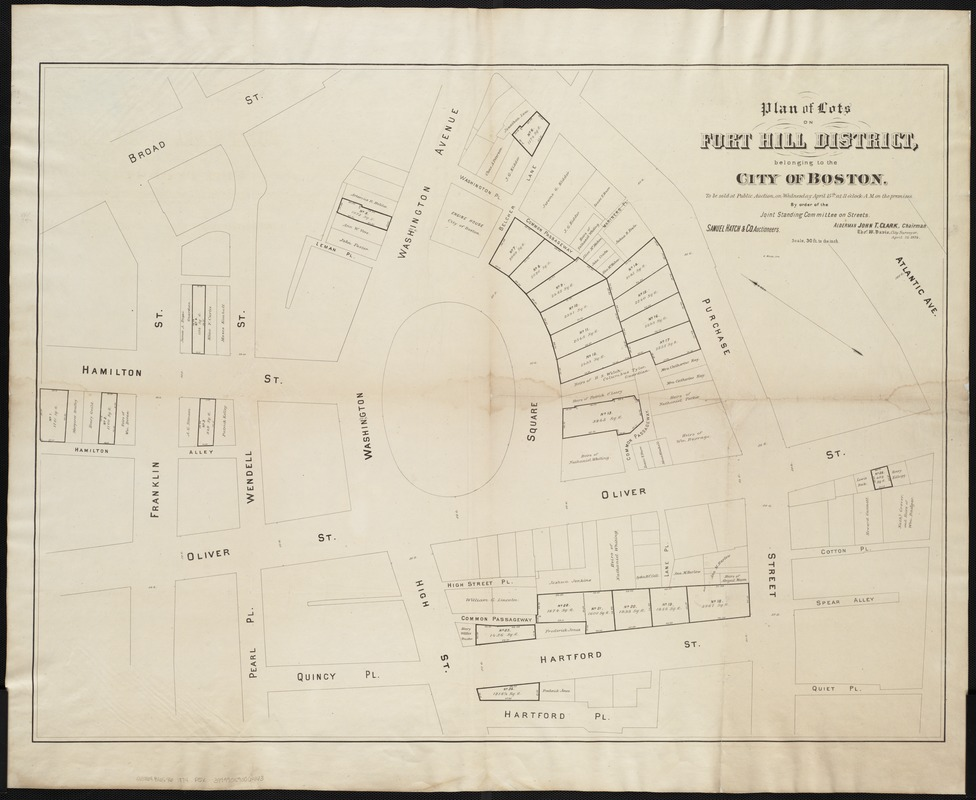Plan of lots on Fort Hill district, belonging to the City of Boston