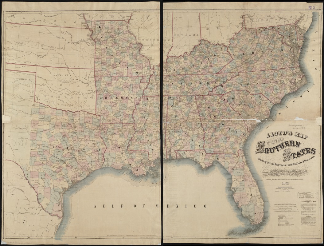 Lloyd's map of the Southern States, showing all the railroads, their stations & distances