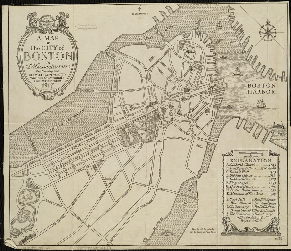 A map of the city of Boston in Massachusetts