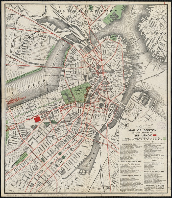 Map of Boston showing location of the Lenox
