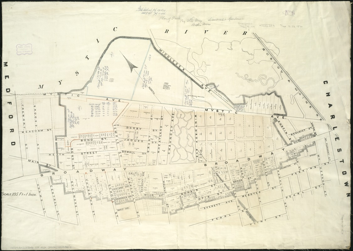[Plan of real estate in Charlestown, showing park laid out]