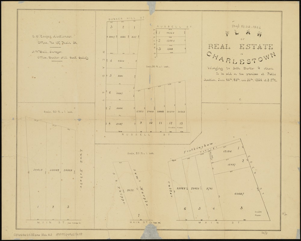 Plan of real estate in Charlestown belonging to Seth Barker & others