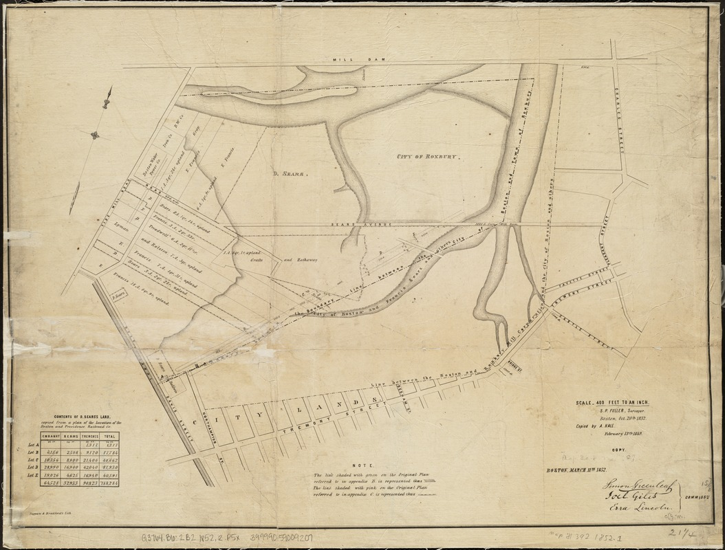 [Plan of boundary lines in Roxbury and the City of Boston]