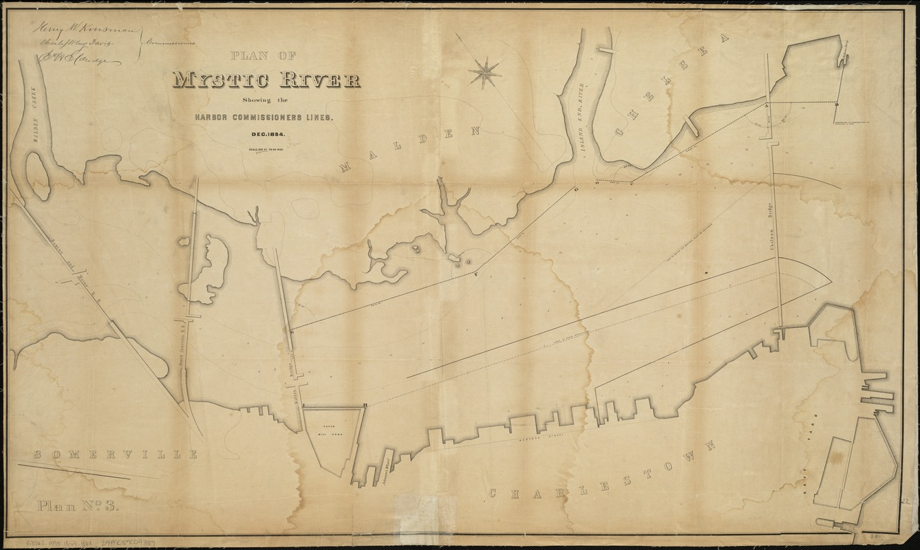 Plan of Mystic River showing the Harbor Commissioners lines