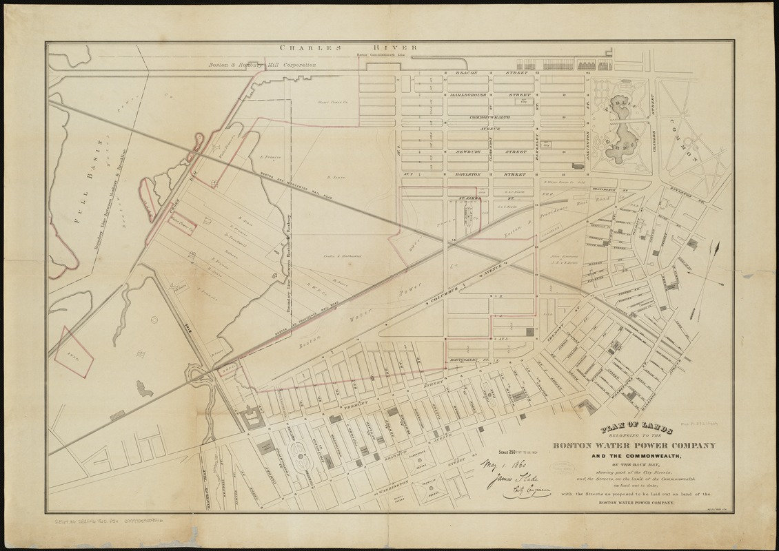 Plan of lands belonging to the Boston Water Power Company and the Commonwealth, on the Back Bay, showing part of the city streets, and the streets, on the land of the Commonwealth as laid out to date