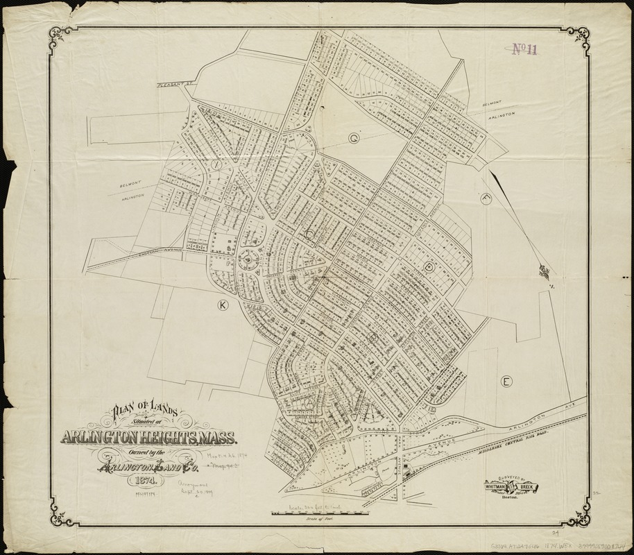 Plan of lands situated at Arlington Heights, Mass