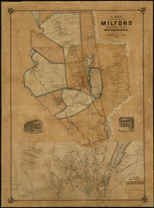 A map of the town of Milford, Worcester County, Massachusetts