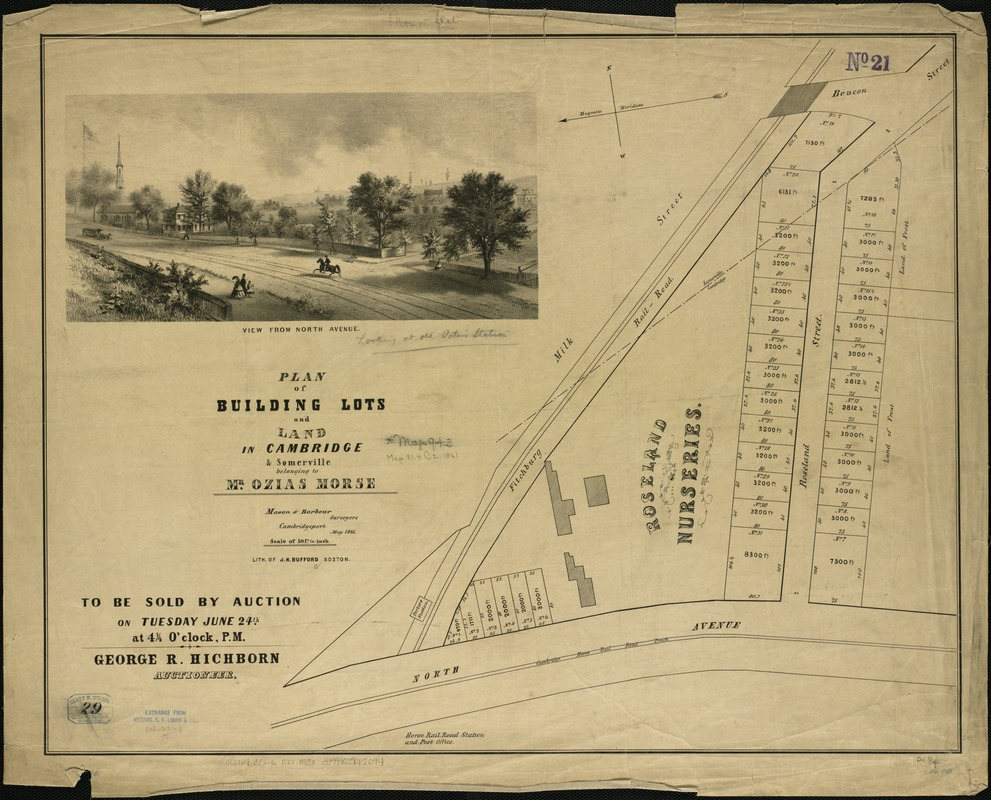 Plan of building lots and land in Cambridge & Somerville belonging to Mr. Ozias Morse