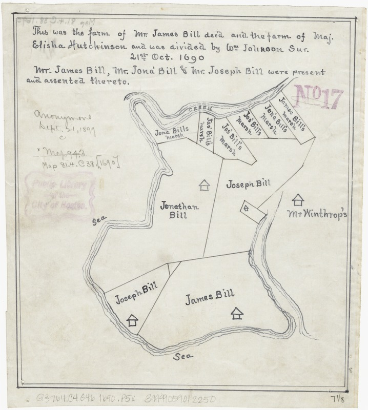 [Plan of farm lands in Chelsea belonging to the Bill family]