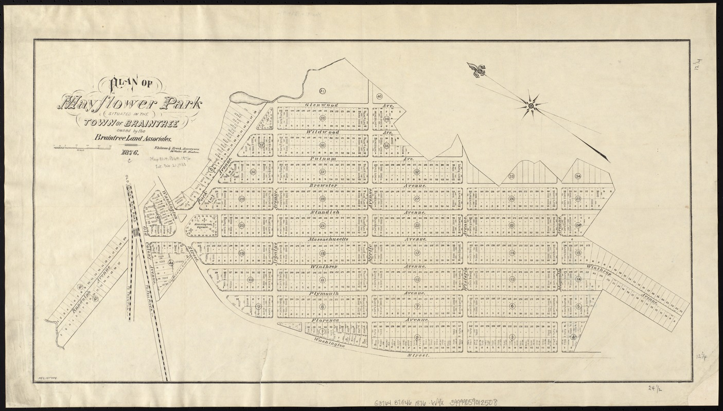 Plan of Mayflower Park situated in the town of Braintree owned by the Braintree Land Associates