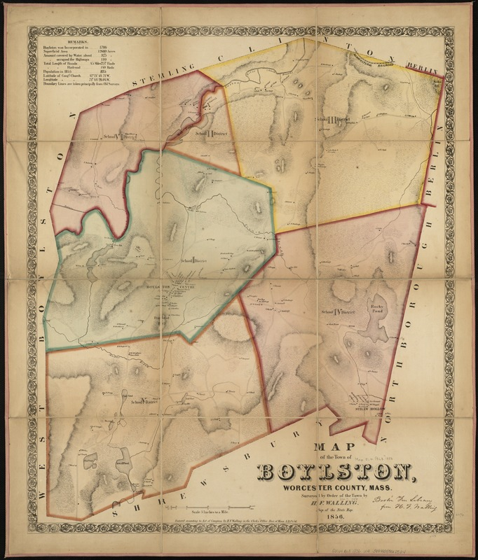 Map of the town of Boylston, Worcester County, Mass