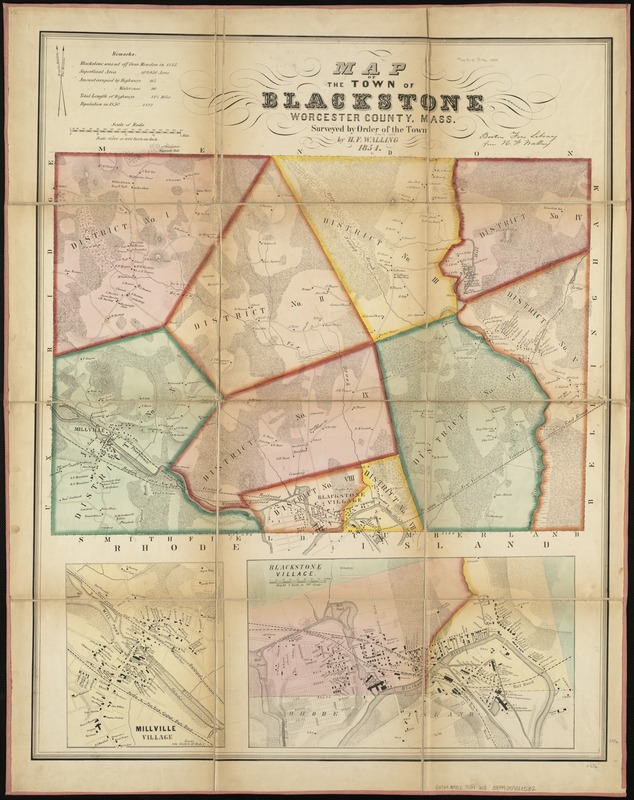 Map of the town of Blackstone, Worcester County, Mass