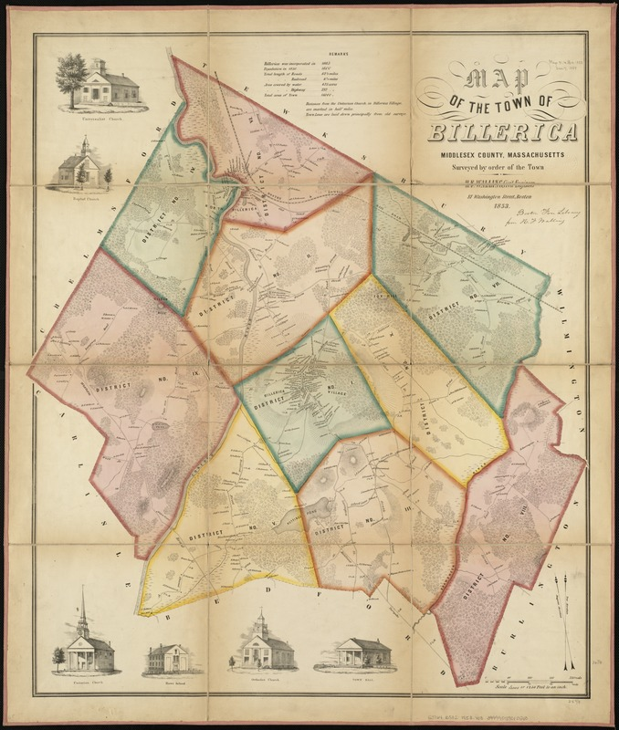 Map of the town of Billerica, Middlesex County, Massachusetts