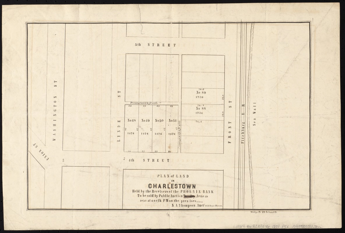 Plan of land in Charlestown held by the receivers of the Phoenix Bank