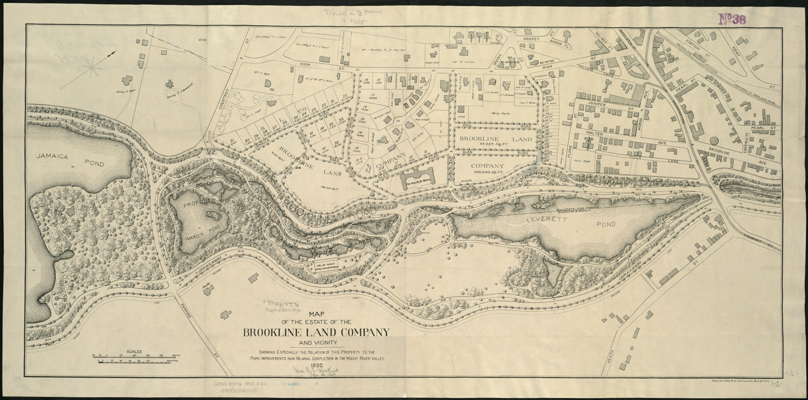 Map of the estate of the Brookline Land Company and vicinity