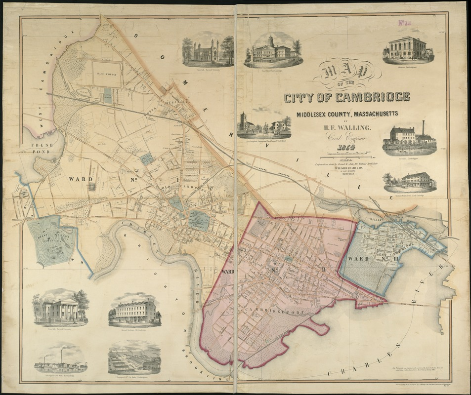 Map of the city of Cambridge Middlesex County Massachusetts
