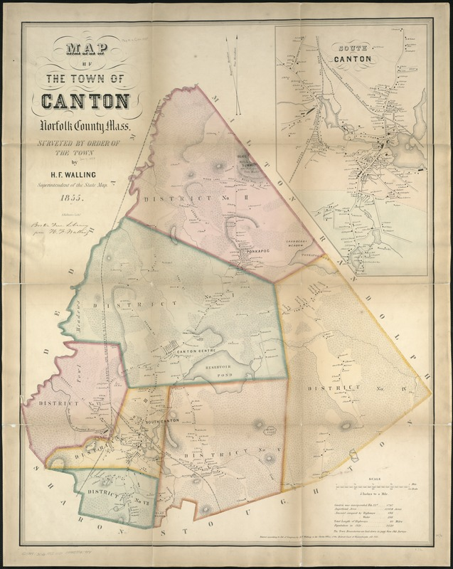 Map of the town of Canton, Norfolk County, Mass