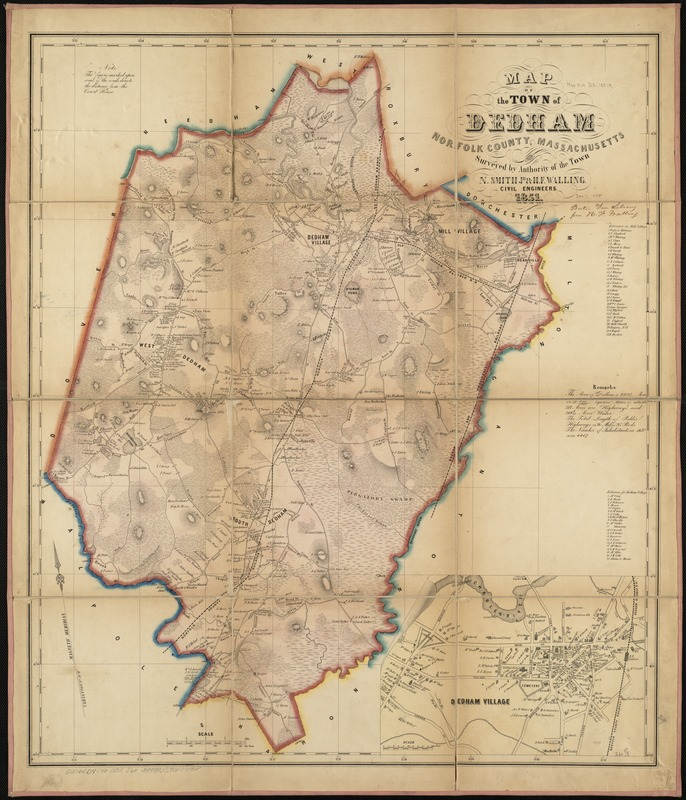 Map of the town of Dedham, Norfolk County, Massachusetts