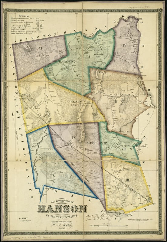 Map of the town of Hanson, Plymouth County, Mass