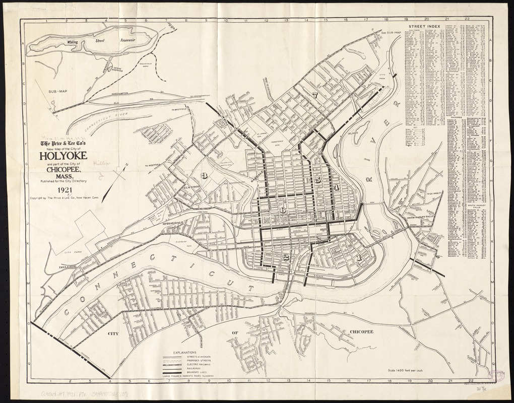 The Price & Lee Co's new map of the city of Holyoke and part of the city of Chicopee, Mass
