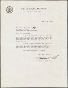 Letter from William C. Paxton, Chairman, Selectmen, to Edwin B. Worthen, March 13, 1947